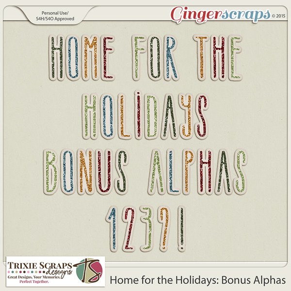 Home for the Holidays Bonus Alphas by Trixie Scraps Designs