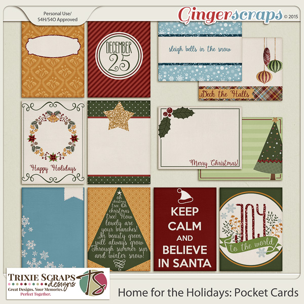 Home for the Holidays Pocket Cards by Trixie Scraps Designs