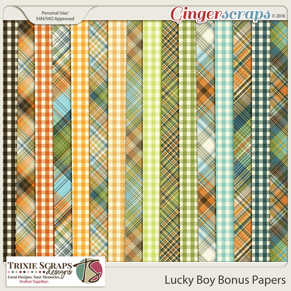 Lucky Boy Bonus Papers by Trixie Scraps Designs