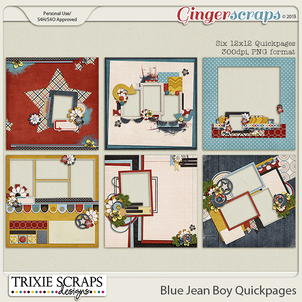 Blue Jean Boy Quickpages by Trixie Scraps Designs