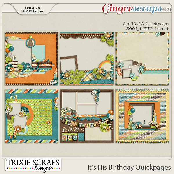It's His Birthday Quickpages by Trixie Scraps Designs