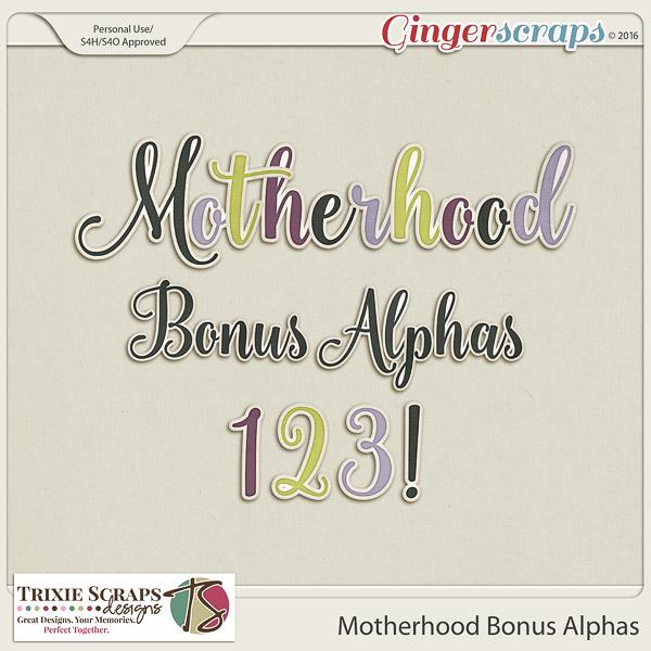 Motherhood Bonus Alphas by Trixie Scraps Designs