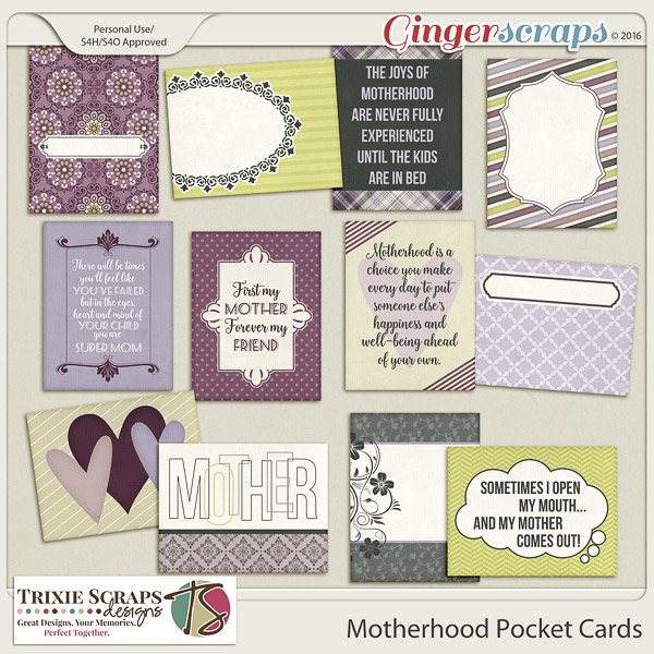 Motherhood Pocket Cards by Trixie Scraps Designs
