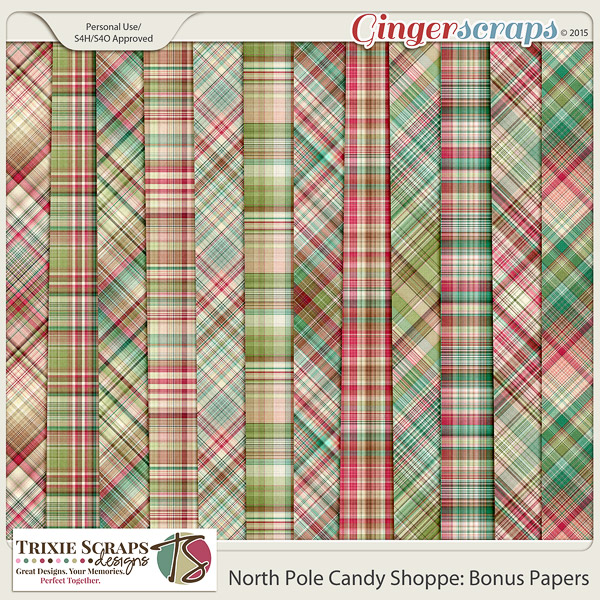 North Pole Candy Shoppe Bonus Papers by Trixie Scraps Designs