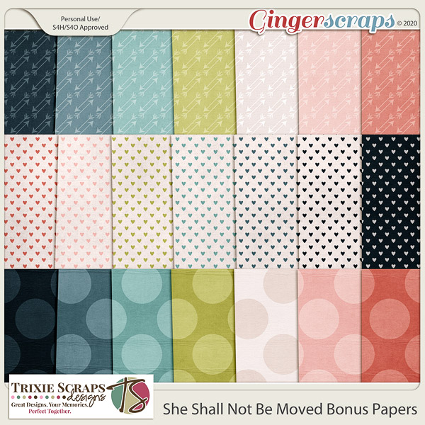 She Shall Not Be Moved Bonus Papers by Trixie Scraps Designs