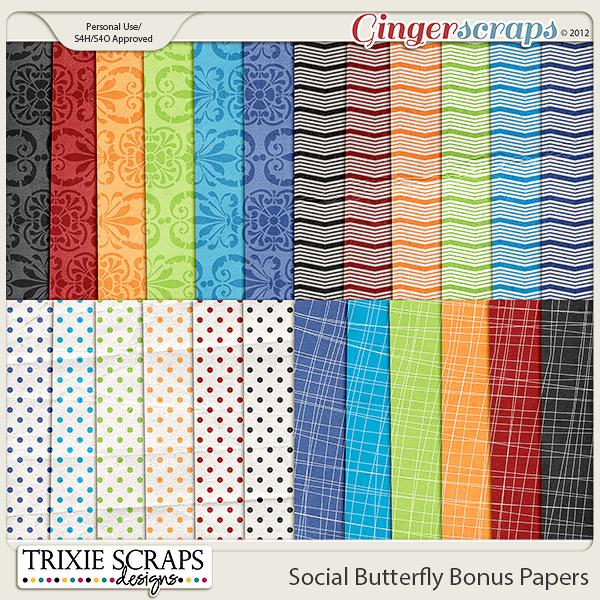 Social Butterfly Bonus Papers by Trixie Scraps Designs