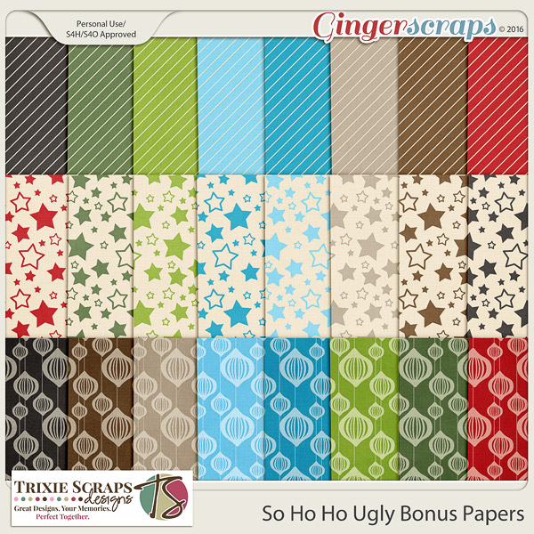 So Ho Ho Ugly Bonus Papers by Trixie Scraps Designs