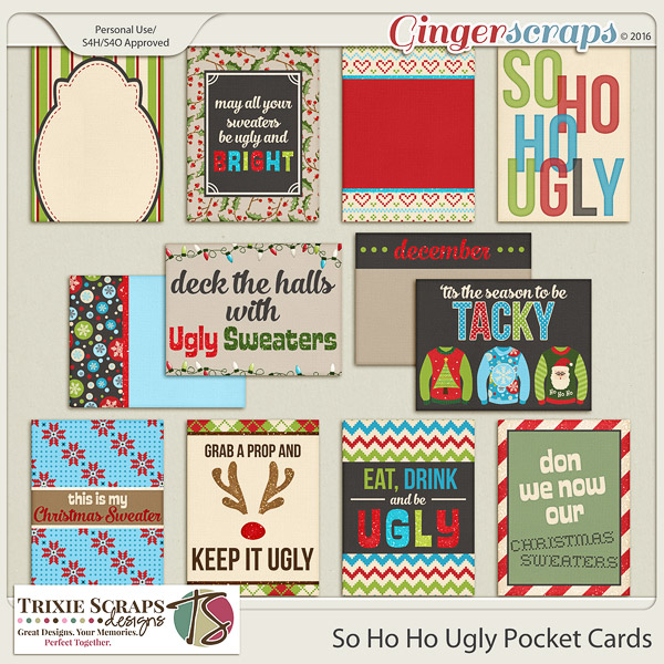 So Ho Ho Ugly Pocket Cards by Trixie Scraps Designs