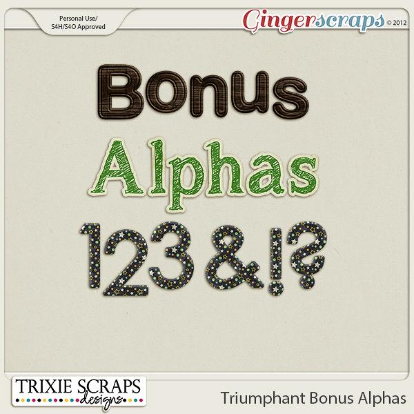 Triumphant Bonus Alphas by Trixie Scraps Designs