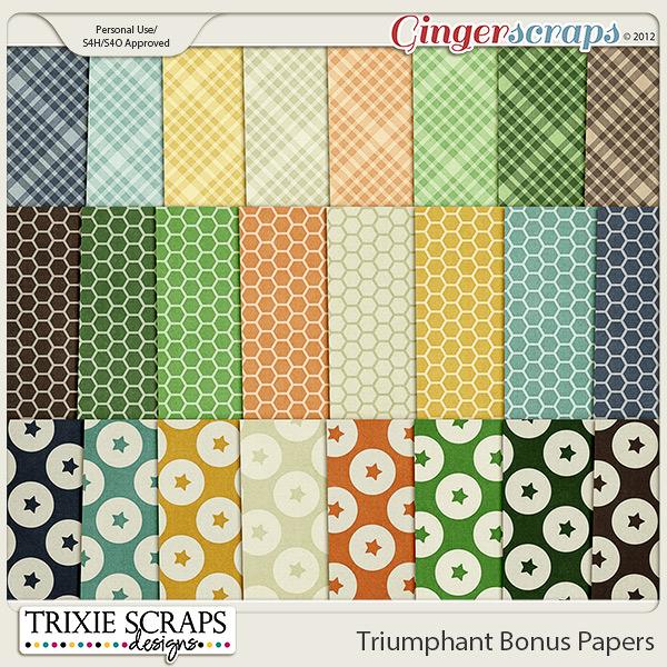 Triumphant Bonus Papers by Trixie Scraps Designs