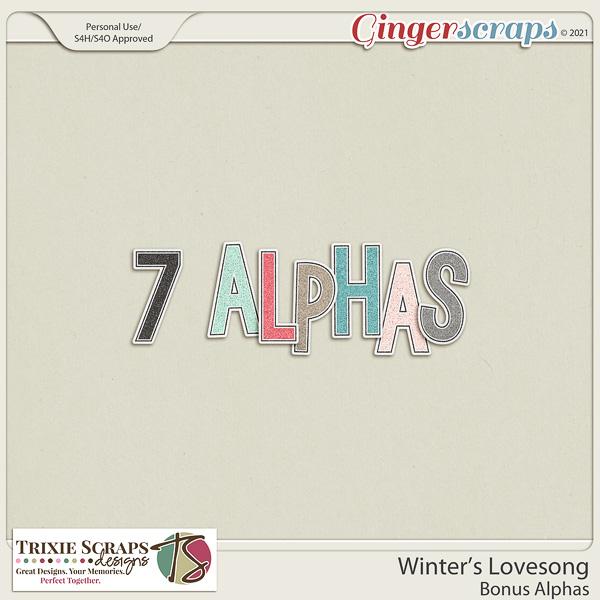 Winter's Lovesong Bonus Alphas by Trixie Scraps Designs