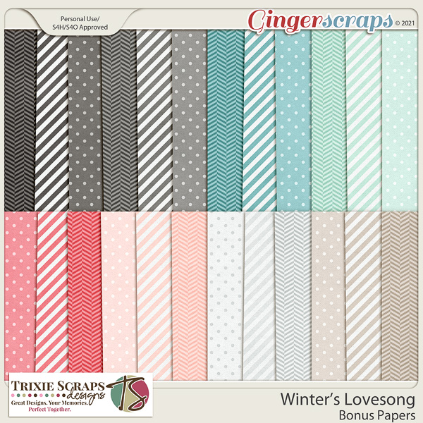 Winter's Lovesong Bonus Papers by Trixie Scraps Designs