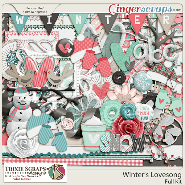 Winter's Lovesong Full Kit by Trixie Scraps Designs