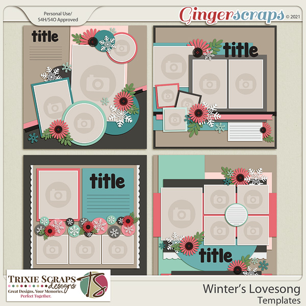 Winter's Lovesong Template Pack by Trixie Scraps Designs