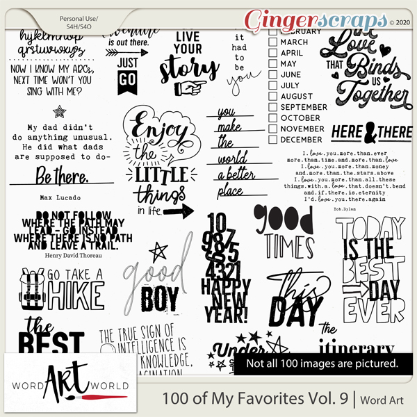 100 of My Favorites Vol 9 Word Art