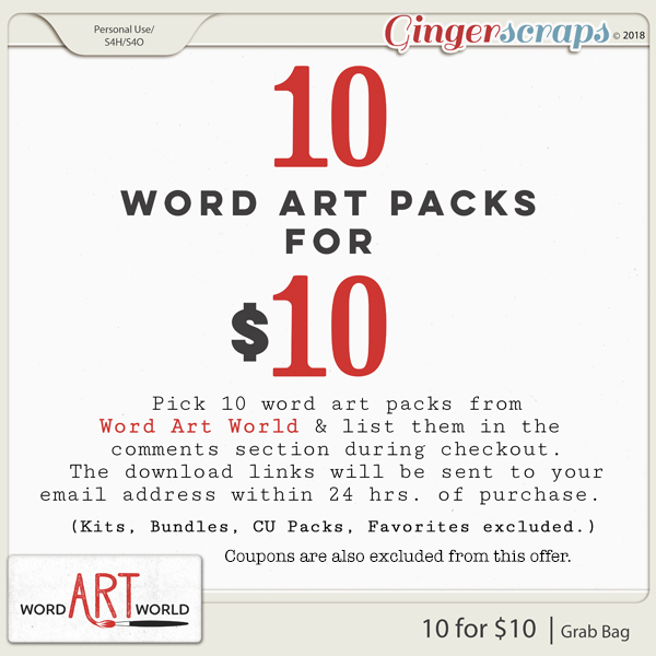 10 For 10 Word Art Grab Bag Created By Word Art World