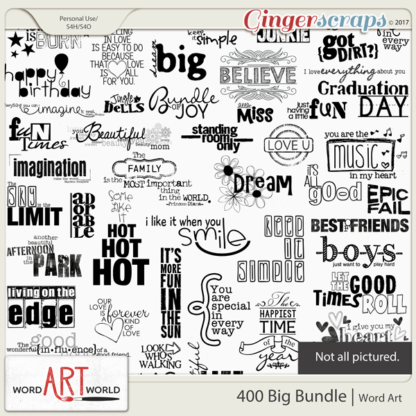 400 Big Bundle Word Art