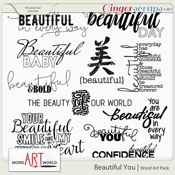 Beautiful You Word Art