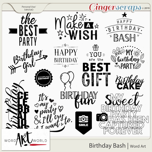 Birthday Bash Word Art