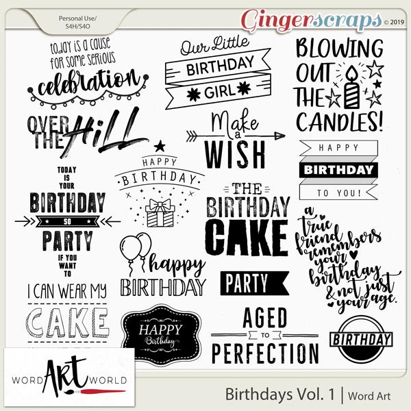 Birthdays Vol. 1 Word Art