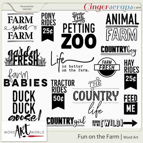 Fun on the Farm Word Art