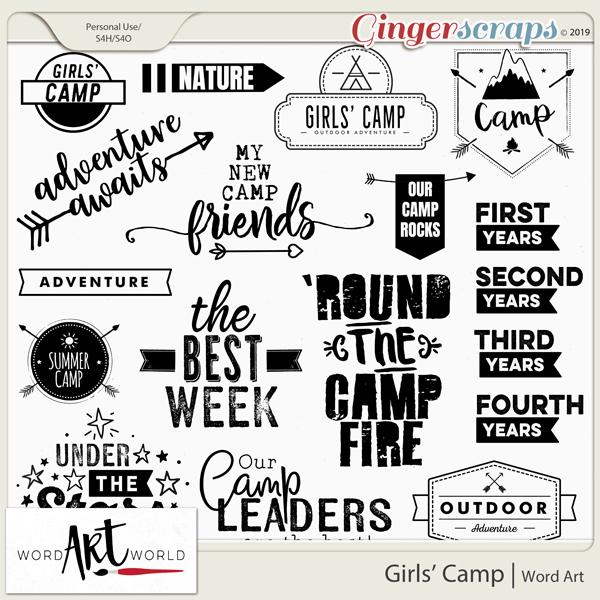 Girls' Camp Word Art