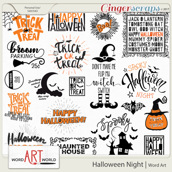 Halloween Night Word Art created by Word Art World