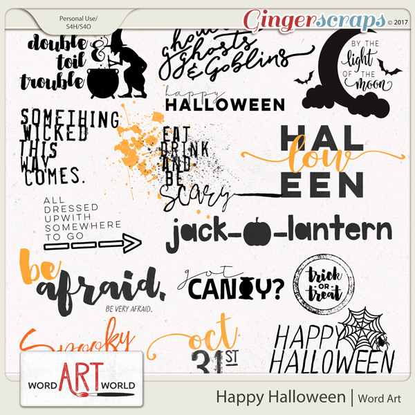 happy halloween word art created by word art world