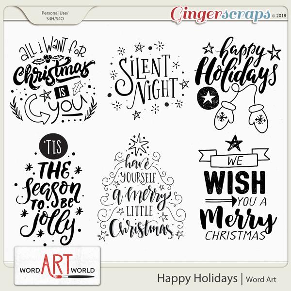 Happy Holidays Word Art