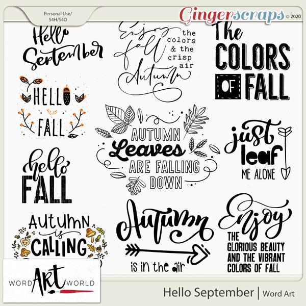 Hello September Word Art