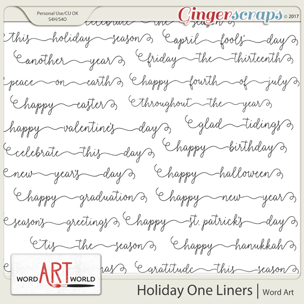 Holiday One Liners Word Art Pack created by Word Art World
