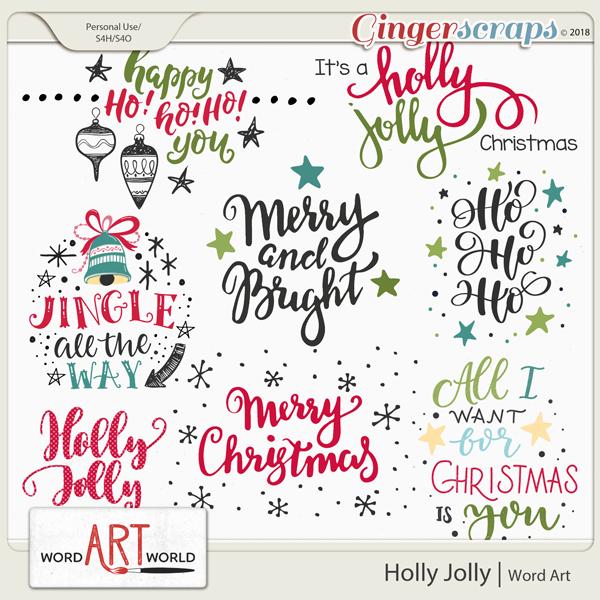 Holly Jolly Word Art