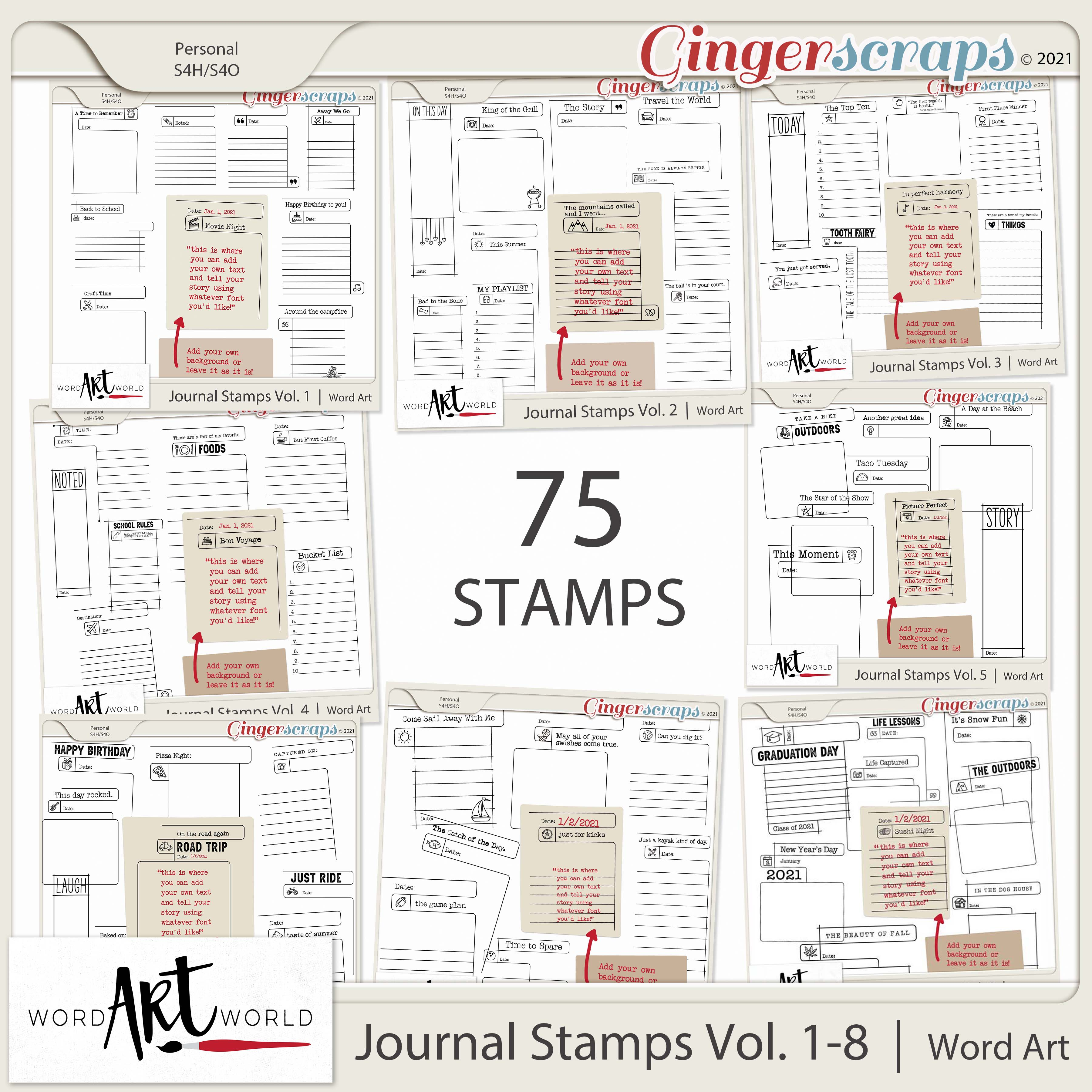 Journal Stamps Vol. 1-8 Word Art
