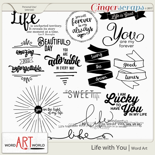 Life with You Word Art