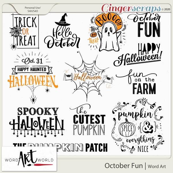 October Fun Word Art