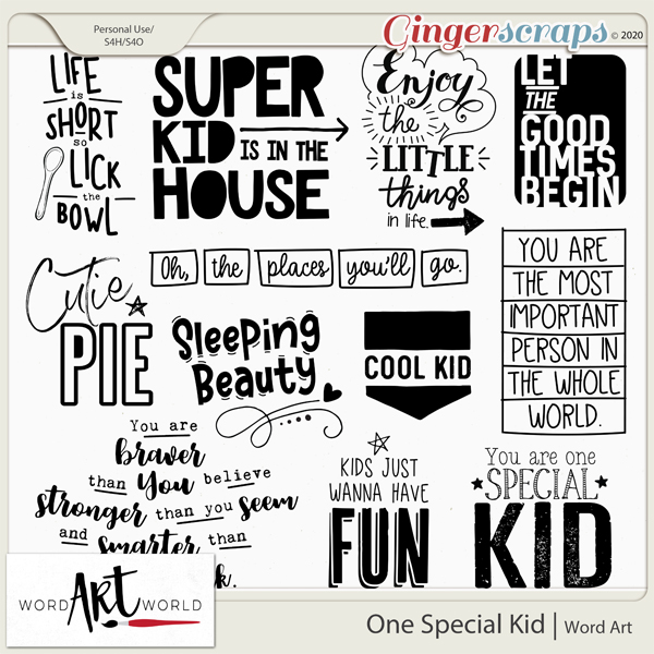One Special Kid Word Art