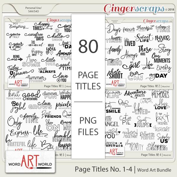 Page Titles No 1-4 Word Art Bundle