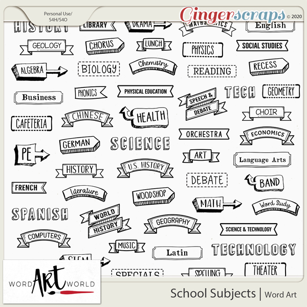 School Subjects Word Art