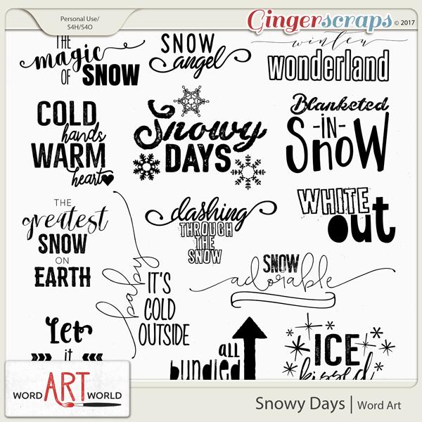 Snowy Days Word Art