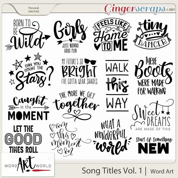 Song Titles Vol. 1 Word Art