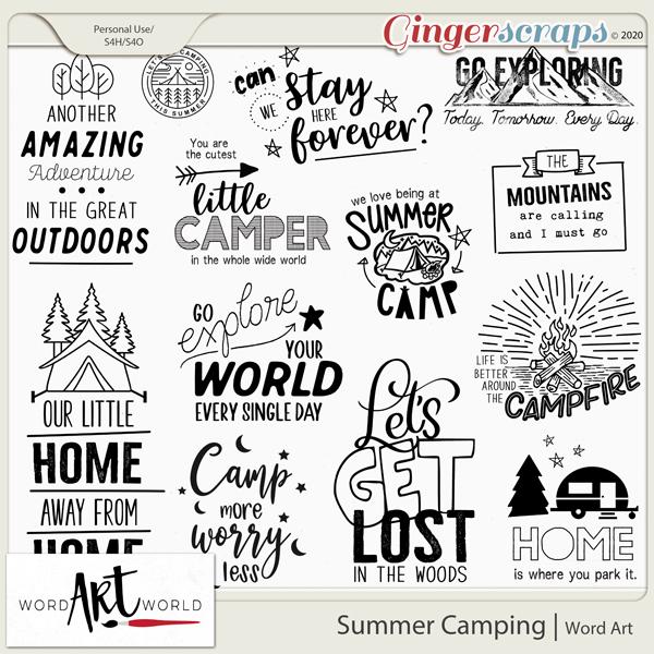 Summer Camping Word Art