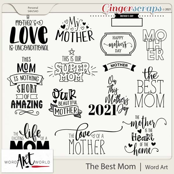 The Best Mom Word Art