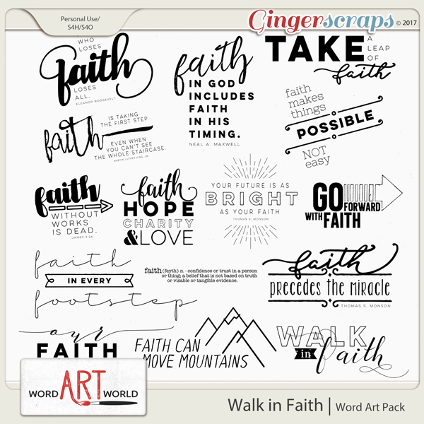 Walk in Faith Word Art
