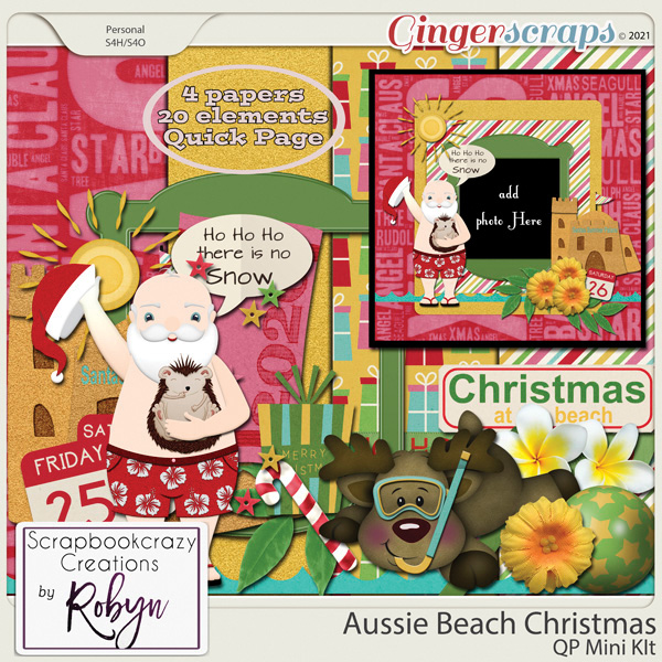 Aussie Beach Christmas Quick Page Mini Kit by Scrapbookcrazy Creations