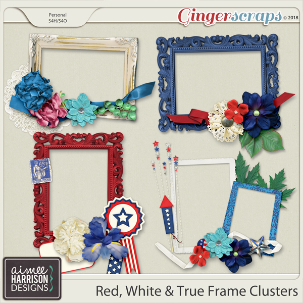 Red, White & True Frame Clusters by Aimee Harrison
