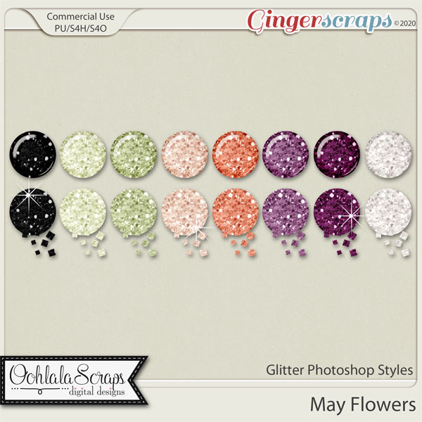 May Flowers Glitter CU Photoshop Styles