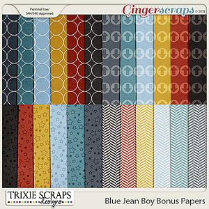Blue Jean Boy Bonus Papers by Trixie Scraps Designs