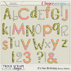 It's Her Birthday Bonus Alphas by Trixie Scraps Designs