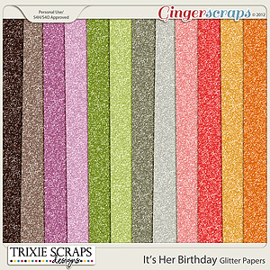 It's Her Birthday Glitter Papers by Trixie Scraps Designs