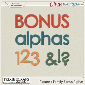 Picture a Family Bonus Alphas by Trixie Scraps Designs